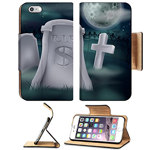 Liili Premium Apple iPhone 6 Plus iPhone 6S Plus Flip Pu Leather Wallet Case IMAGE ID: 16333437 A grave in a graveyard with RIP and a dollar sign on it Economy or financial concept